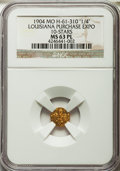 Expositions and Fairs, 1904 Louisiana Purchase Exposition, Louisiana Gold 1/4, 10 Stars, MS63 Prooflike NGC. Hendershott-61-310....