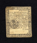 Colonial Notes:Pennsylvania, Pennsylvania April 10, 1777 4d About New. A nice example of thissmall change note that is well margined with a centerfold t...