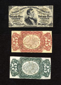 Fractional Currency:Third Issue, Fr. 1291SP 25c Narrow Margin Specimen Set Third Issue Choice New. This is a lovely trio of specimens which includes the Fess... (Total: 3 notes)