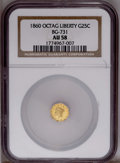 California Fractional Gold: , 1860 25C Liberty Octagonal 25 Cents, BG-731, Low R.5, AU58 NGC.PCGS Population (9/19). (#10558)...