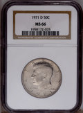 Kennedy Half Dollars: , 1971-D 50C MS66 NGC. NGC Census: (121/30). PCGS Population(641/181).Mintage: 302,097,408. Numismedia Wsl. Price: $22. (#67...