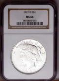 Peace Dollars: , 1927-D $1 MS66 NGC. NGC Census: (4/0). PCGS Population(8/0).Mintage: 1,268,900. Numismedia Wsl. Price: $18,500.(#7371)...