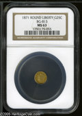 California Fractional Gold: , 1871 25C Liberty Round 25 Cents, BG-813, R.3, MS63 NGC. ...