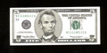 Small Size:Federal Reserve Notes, Fr. 1987-I $5 1999 Federal Reserve Note with fancy serial number. Superb Gem Crisp Uncirculated.. An absolutely wonderful no...