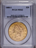 Liberty Double Eagles: , 1888-S $20 MS62 PCGS. PCGS Population (714/330). NGC Census: (574/204). Mintage: 859,600. Numismedia Wsl. Price: $800. (#90...