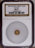 California Fractional Gold: , 1865 25C Liberty Round 25 Cents, BG-822, R.4, MS61 NGC. PCGSPopulation (11/33). (#10683)...