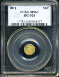 California Fractional Gold: , 1871 50C Liberty Octagonal 50 Cents, BG-924, R.3, MS63 PCGS. ...
