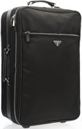 """Luxury Accessories:Accessories, Prada Black Tessuto Canvas & Saffiano Leather Trolley Suitcase.Very Good Condition. 13"""" Width x 22"""" Height x 13"""" Depth,1..."""