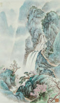 Asian:Chinese, A Chinese Painted Porcelain Plaque in Mahogany Frame:Waterfall. Marks: (2-character mark). 36 inches high x...