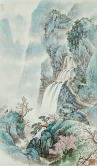 A Chinese Painted Porcelain Plaque in Mahogany Frame: Waterfall Marks: (2-charact