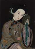 Fine Art - Work on Paper:Drawing, Chinese School (20th Century). Woman with Mirror. Reversepainted glass. 23 x 17 inches (58.4 x 43.2 cm). PROPERTY FRO...