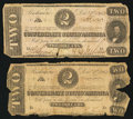 Confederate Notes:1862 Issues, T54 $2 1862 (2) PF-14.. ... (Total: 2 notes)