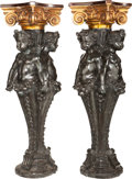 Furniture : Continental, A Pair of Continental Patinated Bronze, Copper and Mahogany FiguralPedestals, 20th century. 48-1/2 inches high x 18 inches ... (Total:2 Items)