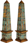 Decorative Arts, Continental:Other , A Pair of Polychrome Wood Obelisks with Egyptian Motifs, 20thcentury. 36-1/2 inches high x 8-1/2 inches wide x 8-1/2 inches...(Total: 2 Items)