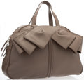 """Luxury Accessories:Bags, Yves Saint Laurent Taupe Leather Obi Bow Bag. ExcellentCondition. 17"""" Width x 11"""" Height x 5"""" Depth. ..."""