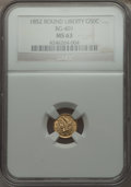 California Fractional Gold , 1852 50C Liberty Round 50 Cents, BG-401, R.3, MS63 NGC. NGC Census:(9/5). PCGS Population (25/13).. From The Elbert Henr...