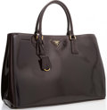 "Luxury Accessories:Bags, Prada Prune Patent Leather Tote Bag. Excellent Condition.14"" Width x 10"" Height x 7"" Depth. ..."