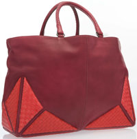 "Bottega Veneta Red Leather & Lizard Tote Bag Very Good Condition 22"" Width x 13"" Height x 7"" Dept"