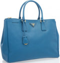 "Luxury Accessories:Bags, Prada Blue Saffiano Leather Lux Tote Bag. Very Good to ExcellentCondition. 14"" Width x 10"" Height x 6"" Depth. ..."