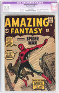 Silver Age (1956-1969):Superhero, Amazing Fantasy #15 (Marvel, 1962) CGC Apparent GD+ 2.5 Slight(C-1) Off-white pages....