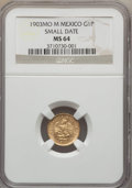 Mexico, Mexico: Republic gold Peso 1903 Mo-M MS64 NGC,...