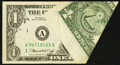 Error Notes:Foldovers, Fr. 1908-A $1 1974 Federal Reserve Note. Very Fine-Extremely Fine.....