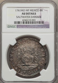 Mexico, Mexico: Philip V Pillar Dollar of 8 Reales 1741 Mo-MF AU Details(Saltwater Damage) NGC,...