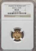 Mexico, Mexico: Republic gold Peso 1903-Mo MS65 NGC,...