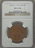 Iraq: Republic 5 Dinars AH1411//1990 MS62 Red and Brown NGC