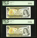 Canadian Currency: , BC-46b $1 1973 Two Consecutive Examples. ... (Total: 2 notes)
