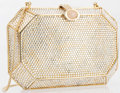 """Luxury Accessories:Bags, Judith Leiber Full Bead Silver Crystal Deltahedron MinaudiereEvening Bag. Very Good to Excellent Condition. 6.5"""" Width x..."""