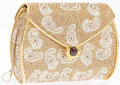 """Luxury Accessories:Bags, Judith Leiber Full Bead Gold & Silver Crystal Paisley PouchMinaudiere Evening Bag. Excellent Condition. 5.5"""" Width x 4""""H..."""