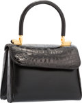 "Luxury Accessories:Bags, Judith Leiber Black Crocodile & Leather Top Handle Bag. Goodto Very Good Condition. 7"" Width x 5.5"" Height x 4""Depth..."