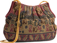 "Judith Leiber Multicolor Printed Suede Shoulder Bag Very Good Condition 12"" Width x 8"" Height x 2"