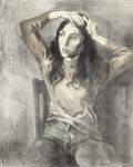 Fine Art - Work on Paper:Print, Raphael Soyer (American, 1899-1987). Girl Combing her Hair. Lithograph in colors on paper. 19-3/4 x 16 inches (50.2 x 40...