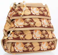 """Judith Leiber Beige and Brown Floral Evening Bag Excellent to Pristine Condition 8.25"""" Width x 6"""