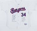 Baseball Collectibles:Uniforms, Nolan Ryan Signed and Stat Inscribed Texas Rangers Jersey....