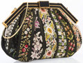 """Luxury Accessories:Accessories, Judith Leiber Black Satin & Multicolor Floral EmbroideredEvening Bag with Gold Hardware. Good Condition. 9"""" Width x 7""""He..."""