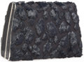 "Luxury Accessories:Bags, Judith Leiber Black Fabric, Fur and Crystal Evening Bag. GoodCondition. 7.25"" Width x 5"" Height x 2.5"" Depth. ..."