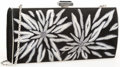 "Luxury Accessories:Accessories, Judith Leiber Black Suede & Gray Embroidered Floral Clutch Bagwith Silver Hardware. Good to Very Good Condition. 9""Width..."