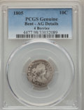 Early Dimes, 1805 10C 4 Berries -- Bent -- PCGS Genuine. AG Details. NGC Census:(2/34). PCGS Population (18/437). Mintage: 120,780. Num...