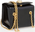 """Luxury Accessories:Accessories, Judith Leiber Black Karung & Semiprecious Stone Shoulder Bagwith Gold Hardware. Very Good Condition. 5"""" Width x 5""""Height..."""
