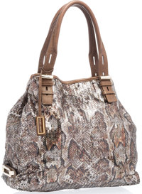 """Jimmy Choo Brown Sequin Python Pattern Tote Bag with Gold Hardware Excellent Condition 16"""" Width x 12"""" Heigh..."""
