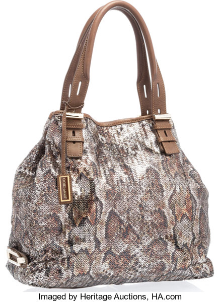 cf8a1ea1910 Jimmy Choo Brown Sequin Python Pattern Tote Bag with Gold Hardware ...