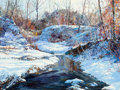 Fine Art - Painting, American:Contemporary   (1950 to present)  , Connie J. Boswell (American, 20th Century). Winter Creek.Oil on board. 12 x 16 inches (30.5 x 40.6 cm). Signed lower ri...