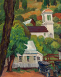 Fine Art - Painting, American:Modern  (1900 1949)  , Horatio Nelson Poole (American, 1884-1949). Downieville Church,California. Oil on canvas laid on board. 16-1/2 x 13 inc...