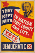 Political:Posters & Broadsides (1896-present), Franklin D. Roosevelt: Large Colorful Off-Year Election Poster....