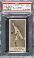 Baseball Cards:Singles (Pre-1930), 1916 M101-5 Blank Back Babe Ruth #151 PSA EX 5....