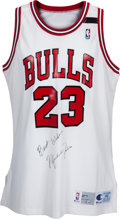 Basketball Collectibles:Uniforms, 1991-92 Michael Jordan Game Worn Chicago Bulls Jersey with BertoMourning Band, MEARS A10....