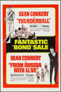 """Movie Posters:James Bond, Thunderball/From Russia with Love Combo (United Artists, R-1968).One Sheet (27"""" X 41""""). James Bond.. ..."""